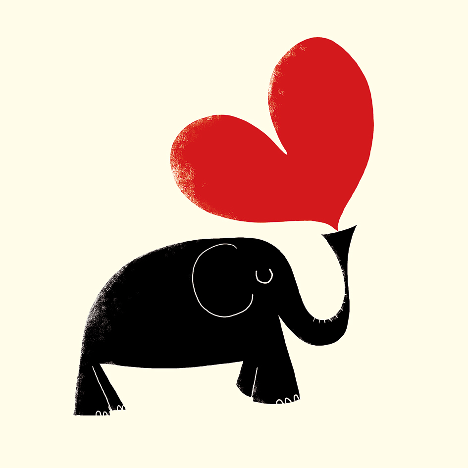 Ink Press Elephant and Heart Card