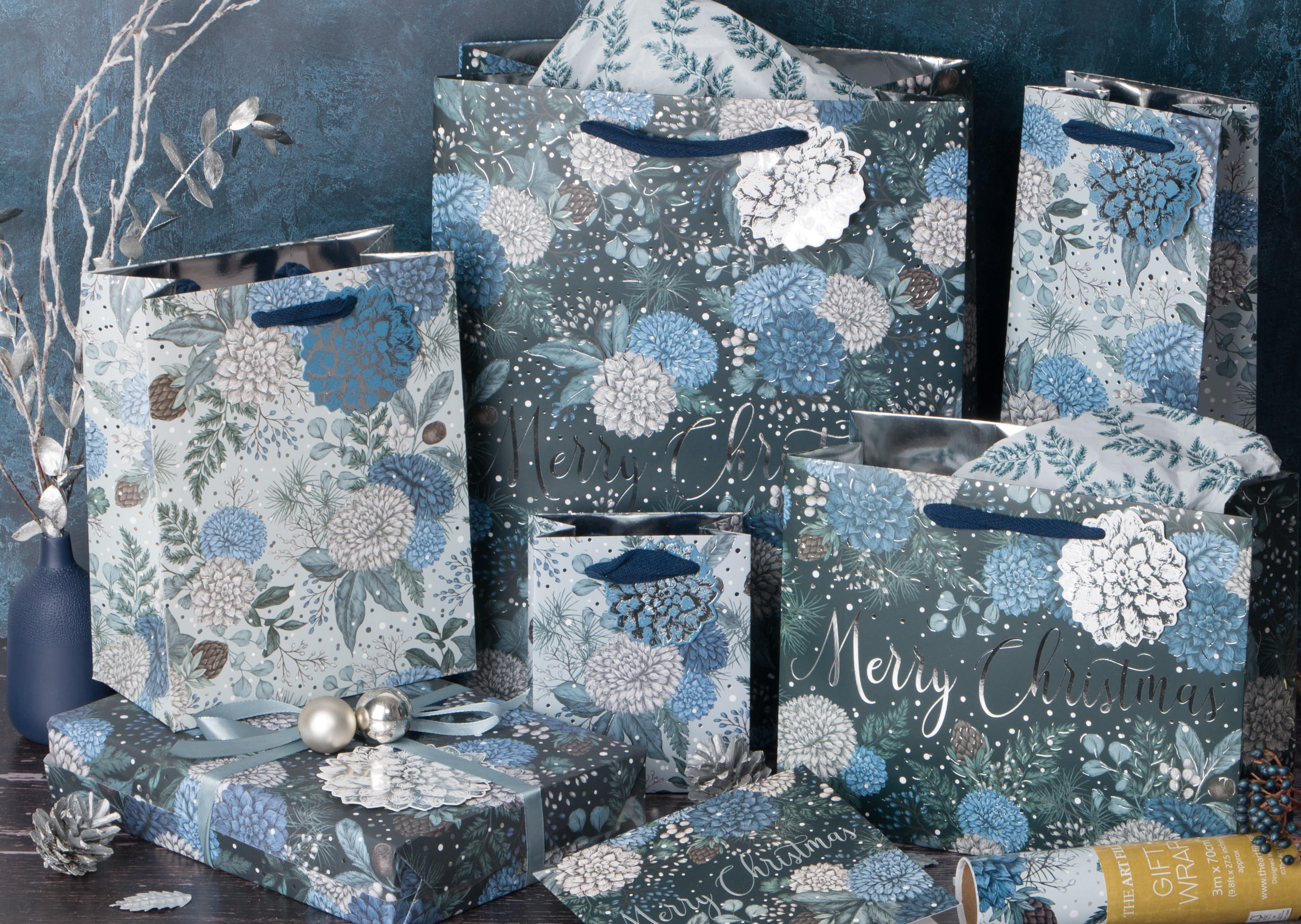 the art file christmas gift bags and wrap, sapphire & snow design